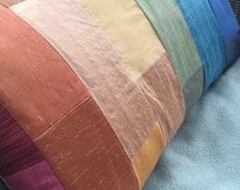 "Rainbow silk pillow 14"" by 20"""