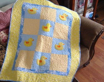 Ducky baby quilt, yellow and blue baby quilt, baby snuggle blanket, ducks baby quilt, modern baby quilt, neutral baby quilt