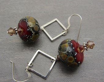 Lampwork Earrings Glass Artisan Earrings Glass Bead Earrings Dangle Drop Earrings With Swarovski Crystals SRAJD