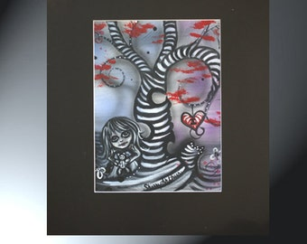 Girl Teddy Bear Painting Original Artwork Size Black Matted to 16 x 20 Swirly Tree Hearts