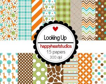 Digital Paper LookingUp- Instant Download Giraffe, Brown, Orange, Green
