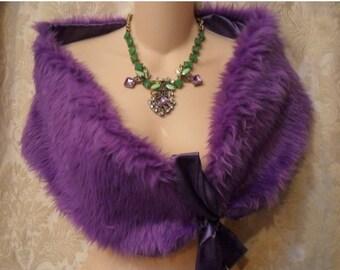 Holiday Sale 30% Off WRAP Faux Fur Purple Whimsical Prom Weddings Bride Romantic - Purple Faux Fur