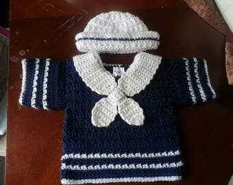 0-3 months boys crochet short sleeve sailor sweater and hat