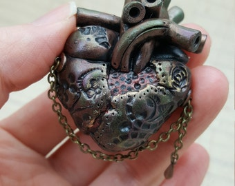"Limited Edition ""Cordelia"" - Industrial Heart No.150 - Anatomical Steampunk Heart - Pendant / Necklace"