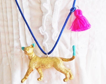 Kids Cat Necklace. Tassel Necklace. Gifts for Cat Lovers. Cat Jewelry. Girls Cat Necklace. Gold Cat. Boho Kids. Kitty Necklace. Kids gift