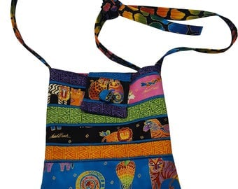 Fabric Purse in Laurel Burch Jungle Prints with Adjustable Straps