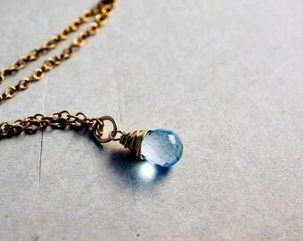 Sky Blue Topaz, Topaz Necklace, Sky Blue, Decmeber Birthstone, Gemstone Necklace, Topaz Jewelry, Gold Necklace, Topaz Pendant, PoleStar