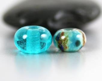 Lampwork Glass Beads - Aqua Pair - Lampwork Beads - Aqua Brown