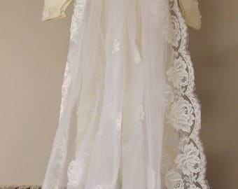 Vintage dark ivory heavily beaded appliqued wedding gown, unattached sheer applique large train Sm 34