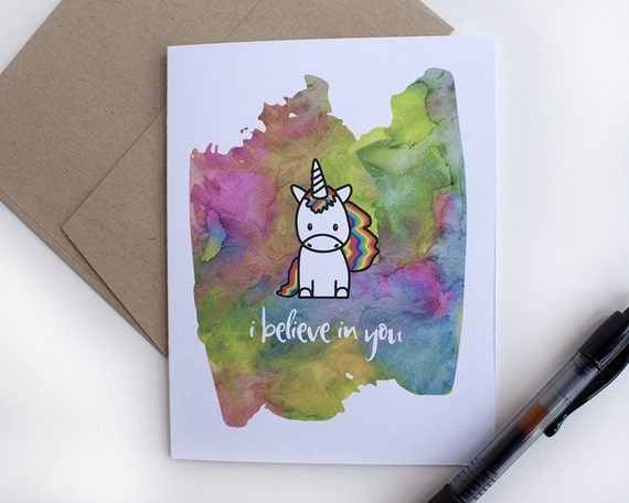 Celebration Card – Encouragement Card – Unicorn Card – I Believe in You – Rainbow Unicorn – All Occasion Card – Card Writing Service