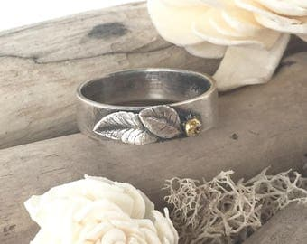 size 10 silver ring, silver leaf ring band, fine silver ring, hand made silver ring, forged metal ring