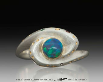 Hubble Spiral Galaxy Round Opal Ring