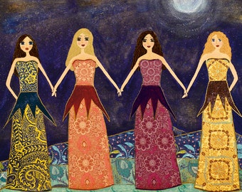 Four Best Friends - Four Sisters Art Print - Best Friend Sister Gift - Bridesmaid Gift
