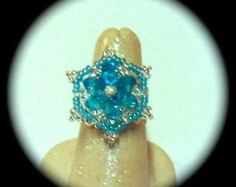 Awesome Aqua  Bit of Bling  Medallion style Ring Native boho gypsy ethnic adjustable ring african silver plate ring bling ring seed bead