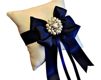 Navy Blue Ring Bearer Pillow - Wedding Ring Pillow - Pearl Ring Pillow - Ring Cushion - Navy Blue Wedding - 30 Colors Available