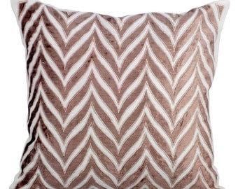 "Designer Throw Pillows Cover, 16""x16"" Ivory Silk Pillow Covers, Square Choco Velvet Applique Pillow Cover - We Danced Chevron"