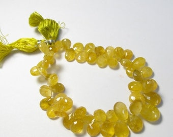 25% Off Sale Rare Yellow Aquamarine Heliodor Briolette Beads,  Golden Beryl Briolette Beads