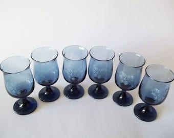 Pfaltzgraff Yorktowne Blue Wine Glasses/Goblets, Etched Stemware, Set of 6, USA, 1970s