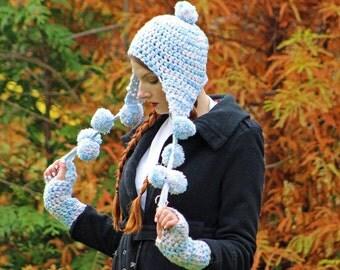 Snow Blue Elf Earflap Hat And Glove Set Pom Pom Pixie Beanie Hat Crochet Handmade Gift for Women and Girls Stocking stuffer