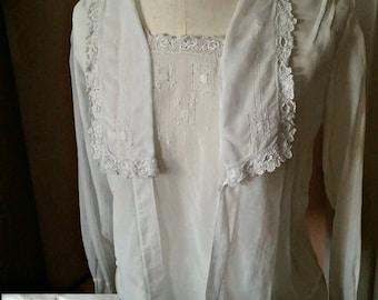Antique Womens Blouse Irish Crochet Lace trim drawn thread work, white lawn, Middy Edwardian top, All Handmade Label
