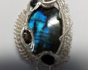 Wire Wrapped Woven Pendant  Labradorite and Tourmaline in Sterling -free SP chain