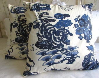 EUROS Matching Pair Blue Dragon  26X26  pillow covers ooak