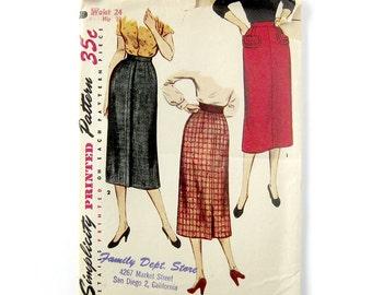 1950s Rockabilly Pencil Skirt /  Slim Skirt Pattern / Skirt with Pockets / Vintage Sewing Pattern / Simplicity 14491  / Waist 24