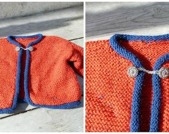 Vintage Austria 1970/70s Hand knitted baby  sweater /  Trachten dirndl size 1 /2 years
