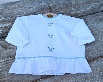 Vintage  1960/60s French  white cotton embroidered baby dress  / size 6month/1 year