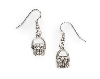Nantucket Lightship Purse Basket Charm Earrings silver pewter USA-made lead-free