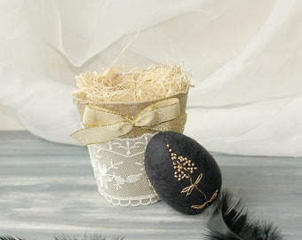Felted Easter Eggs, Black Felt Eggs, Gold Embroidered Easter Eggs, Table Decoration, Decoration For Photoshoot, Black and Gold Home decor