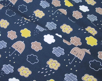Jersey Umbrella and clouds on blue Cotton Jersey Knit Fabric 0.54yd (0,5m) 003229