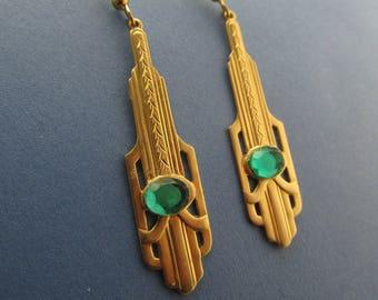 Art Deco Emerald glass Earrings Long Dangle filigree earrings vintage brass