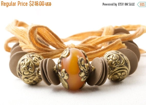 ON SALE Spring Statement Necklace African Amber Mustard Honey Tibetan Focal Ceramic Ribbon Women Necklace