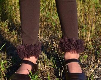 Brown Chiffon Ruffle Leggings -SALE