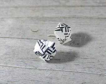 Origami Earrings, Origami Jewelry, Green Earrings, Post Earrings, Fashion Earrings, Button Earrings, Handmade Earrings, Handmade Jewelry