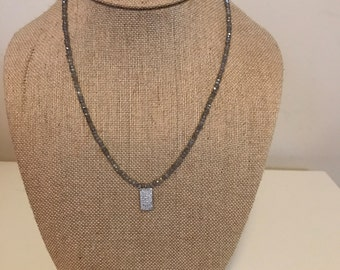 Labradorite and white topaz necklace