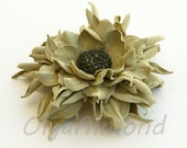Leather flower. Leather brooch . Pastel green color flower brooch .Fantasy Leather jewelry