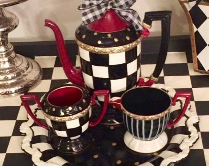 Whimsical painted tea set, silver tea set, painted tea set