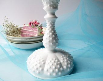 Vintage Fenton Milk Glass Hobnail Candleholder - Weddings Bridal