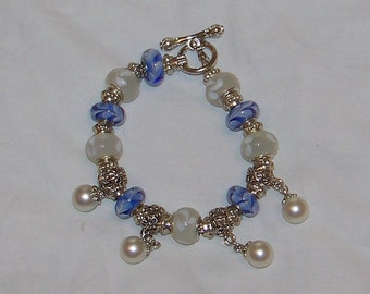 Murano Blue And White Bead Bracelet With White Pearl Like Bobbles