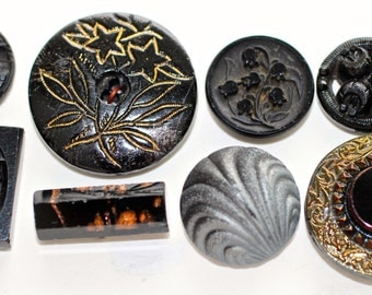 Buttons - 8 Black Glass Pierced, Paperweight, Pictorials,  Old - Smalls and Mediums