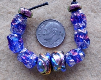 10 Dichroic Assorted Beads in Bright Pink Colors handmade by DEE HOWL BEADS