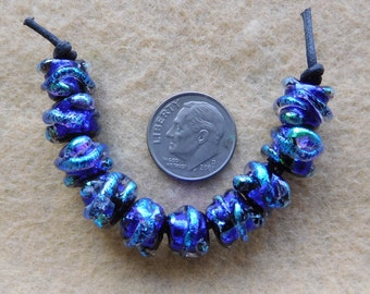 10 Shiny Blue Mini Baroque Dichroic Lampwork Beads by Dee Howl Beads