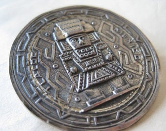 Mayan Silver Brooch Sterling Vintage Pin 925 Pendant Mexico