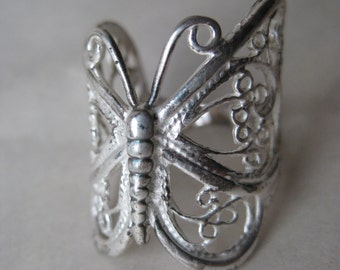 Butterfly Filigree Sterling Ring Size 7 Silver Vintage 925