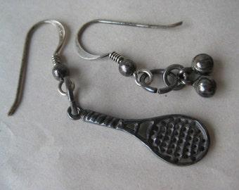 Tennis Racket Balls Sterling Dangle Earrings Pierced Wire Silver Vintage 925