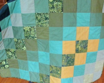 Greens Greens and Greens Handmade Quilted Throw