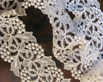 Wide White Ornate Vintage Lace, 1.5 Yards