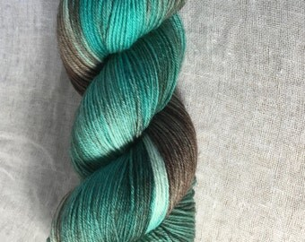 Aqua, Brown Hand Dyed 4ply Sock Wool/Nylon Yarn
